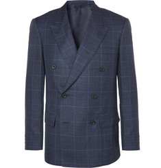 Kingsman-Harry's Navy Double-Breasted Checked Wool, Silk and Linen-Blend Suit Jacket