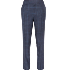 Kingsman-Harry's Navy Slim-Fit Checked Wool, Silk and Linen-Blend Suit Trousers