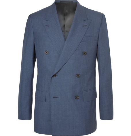 KINGSMAN Harry'S Navy Double-Breasted Wool Suit Jacket - Blue
