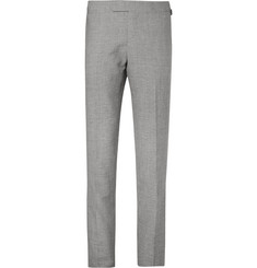 Kingsman Grey Harry Puppytooth Wool and Linen-Blend Suit Trousers