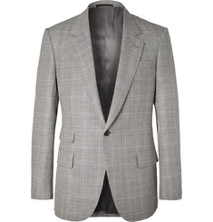 Kingsman Eggsy's Grey Prince of Wales Checked Wool and Linen-Blend Suit Jacket