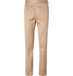 Kingsman Eggsy's Beige Slim-Fit Herringbone Cotton Suit Trousers