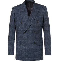 Kingsman Harry's Navy Double-Breasted Checked Wool-Blend Blazer