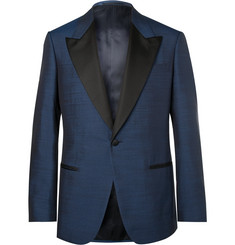 Kingsman - Harry's Navy Faille-Trimmed Silk Tuxedo Jacket