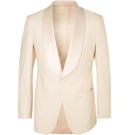 KINGSMAN Harry's Cream Satin-Trimmed Stretch-Cotton Tuxedo Jacket