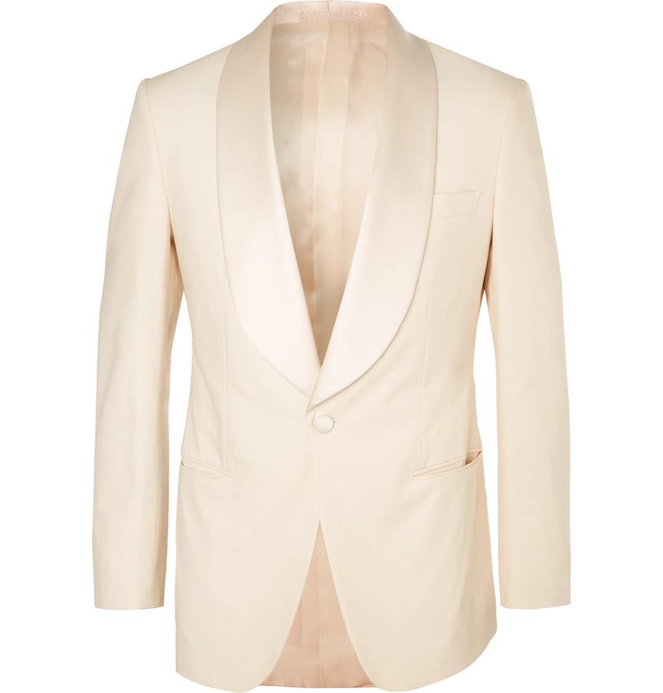 Harry's Cream Satin-trimmed Stretch-cotton Tuxedo Jacket - Cream
