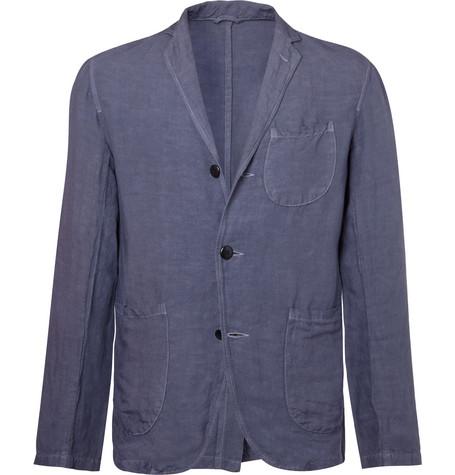KAPITAL Indigo Unstructured Linen-Blend Blazer