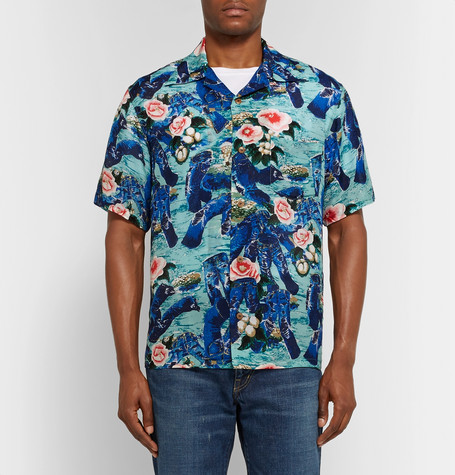 Camp Collar Printed Voile Shirt by Kapital