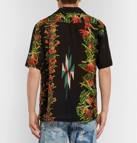 Camp-collar Printed Voile Shirt - BlackKAPITAL 2018 Fraîche Réduction Abordable ooPs4