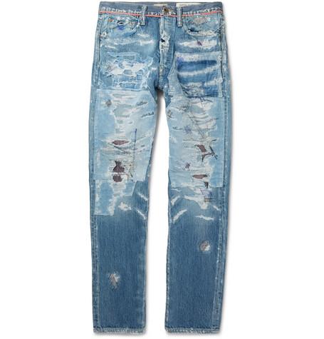 Slim Fit Distressed Denim Jeans by Kapital
