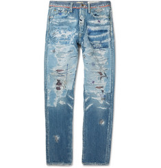 KAPITAL Slim-Fit Distressed Denim Jeans