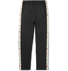 KAPITAL Slim-Fit Tapered Embroidered Velvet-Trimmed Jersey Sweatpants
