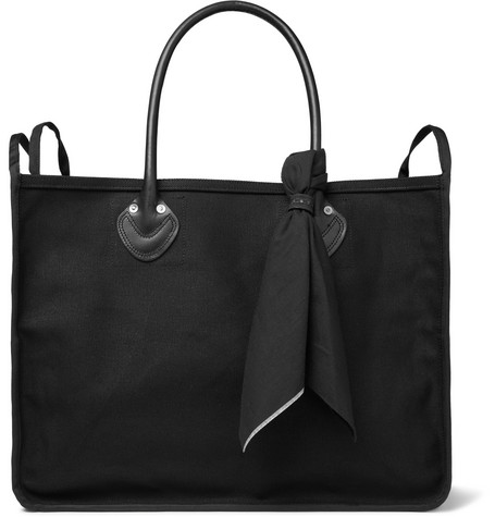 KAPITAL Leather-Trimmed Printed Cotton-Canvas Tote Bag