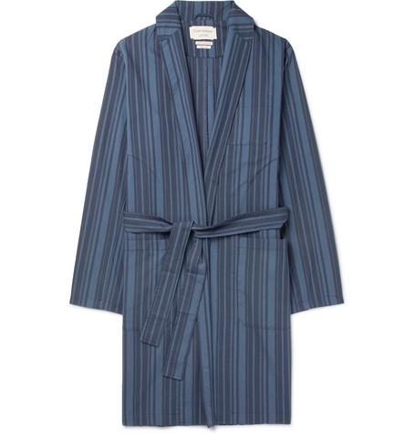 OLIVER SPENCER LOUNGEWEAR Farrow Striped Organic Cotton Robe