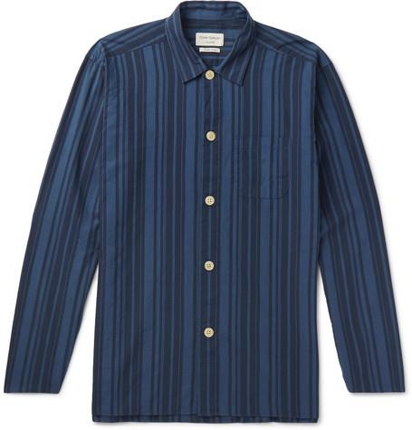 OLIVER SPENCER LOUNGEWEAR Farrow Striped Organic Cotton Pyjama Shirt