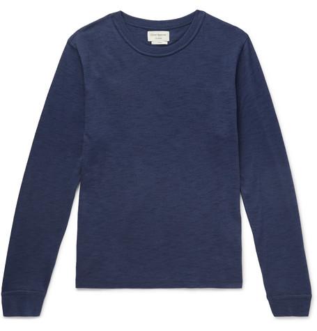 OLIVER SPENCER LOUNGEWEAR Berwick Slub Cotton-Blend Sweater in Navy