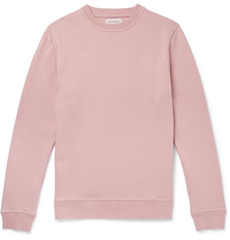 OLIVER SPENCER LOUNGEWEAR Fleece-Back Cotton-Jersey Sweatshirt in Pink