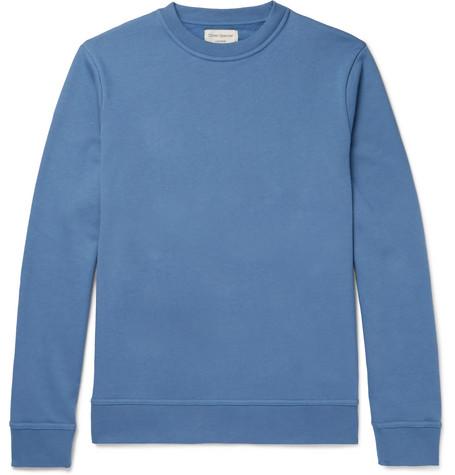 OLIVER SPENCER LOUNGEWEAR Harris Fleeceback Cotton-Jersey Sweatshirt in Blue