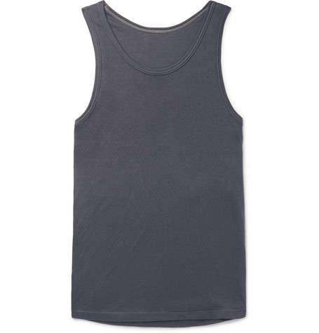 SECONDSKIN Air Knit Cotton-Jersey Tank Top - Anthracite