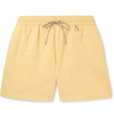 Loro Piana Bay Mid-Length Striped Cotton-Blend Seersucker Swim Shorts