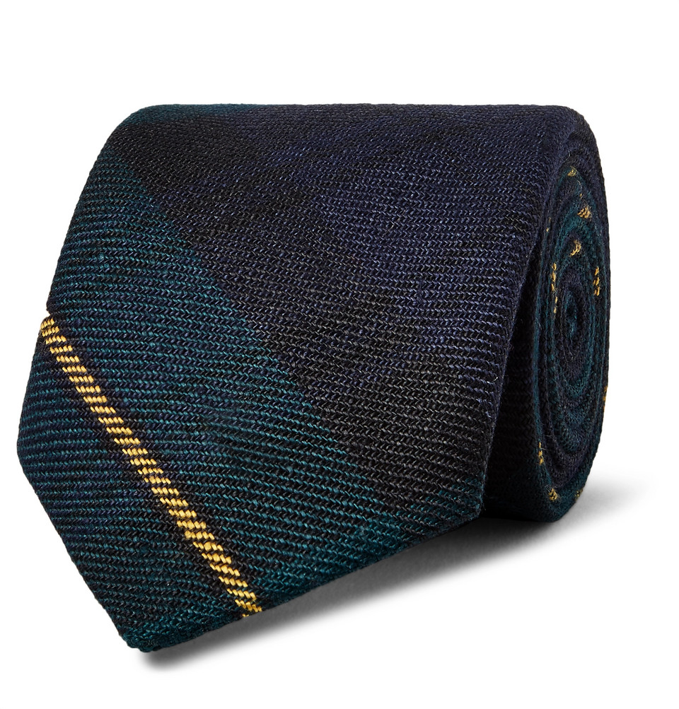 Billede af 8cm Checked Linen Tie - Navy
