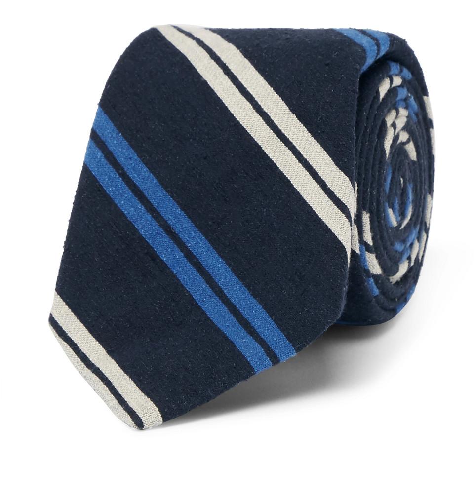 Billede af 7cm Madison Striped Slub Silk Tie - Navy