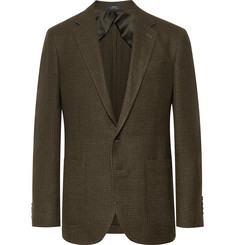 Polo Ralph Lauren Army-Green Morgan Slim-Fit Houndstooth Wool and Linen-Blend Blazer