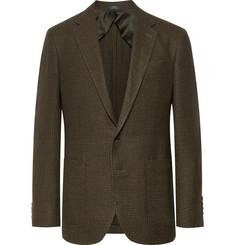 폴로 랄프로렌 Polo Ralph Lauren Army-Green Morgan Slim-Fit Houndstooth Wool and Linen-Blend Blazer,Green