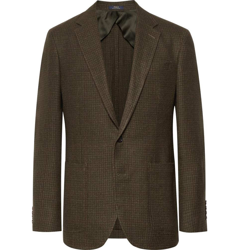 Billede af Army-green Morgan Slim-fit Houndstooth Wool And Linen-blend Blazer - Green
