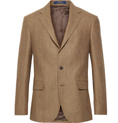 Polo Ralph Lauren Brown Polo 1 Puppytooth Wool and Silk-Blend Blazer