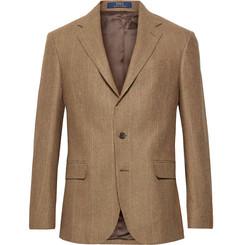 폴로 랄프로렌 Polo Ralph Lauren Brown Polo 1 Puppytooth Wool and Silk-Blend Blazer,Brown