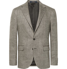 Polo Ralph Lauren Beige Polo 1 Herringbone Slub Linen and Silk-Blend Blazer