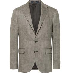 폴로 랄프로렌 헤링본 린넨-실크 블렌드 블레이저 Polo Ralph Lauren Beige Polo 1 Herringbone Slub Linen and Silk-Blend Blazer,Beige
