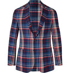 폴로 랄프로렌 Polo Ralph Lauren Navy Morgan Slim-Fit Unstructured Checked Herringbone Stretch-Cotton Blazer