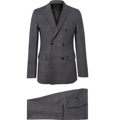 CALVIN KLEIN 205W39NYC - Charcoal Slim-Fit Double-Breasted Prince of Wales Checked Wool Suit