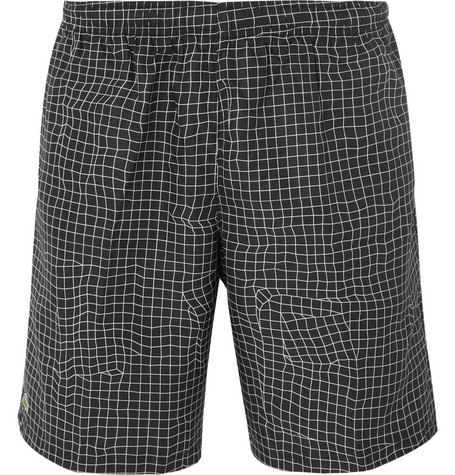 LACOSTE TENNIS CHECKED RIPSTOP TENNIS SHORTS