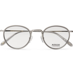 Moscot Bupkes Round-Frame Acetate-Trimmed Silver-Tone Optical Glasses