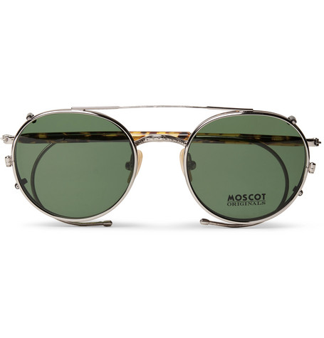 082c1647eb7 Moscot Spiel Round-Frame Tortoiseshell Acetate Optical Glasses With Clip-On  Uv Lenses In