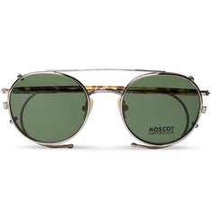 Moscot Spiel Round-Frame Tortoiseshell Acetate Optical Glasses with Clip-On UV Lenses