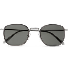 Moscot Drimmel Square-Frame Acetate-Trimmed Silver-Tone Sunglasses