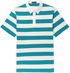 Theory Striped Cotton-Jersey Polo Shirt