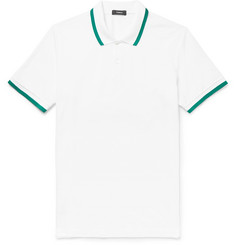 Theory Contrast-Tipped Pima Cotton-Piqué Polo Shirt