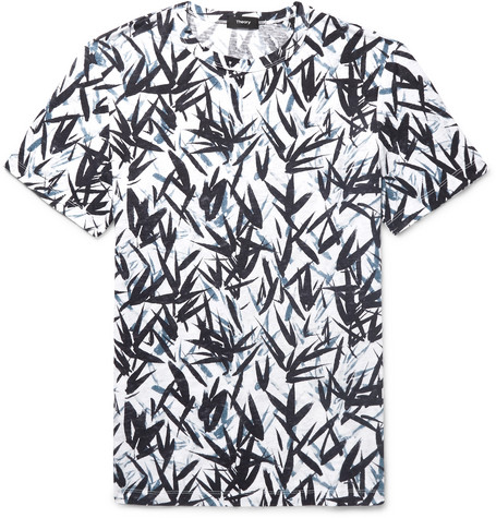 Printed Slub Linen-jersey T-shirt - White
