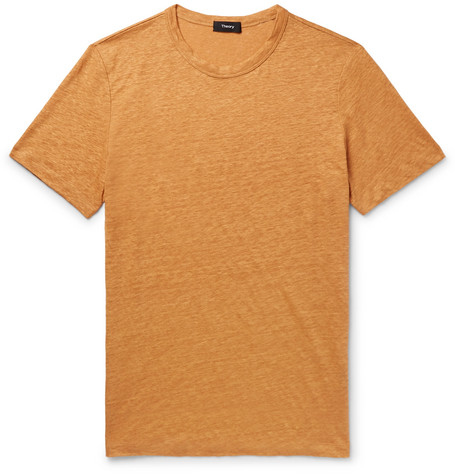 Essential Mélange Linen T Shirt by Theory