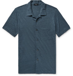 Theory Slim-Fit Camp-Collar Mélange Slub Linen Shirt