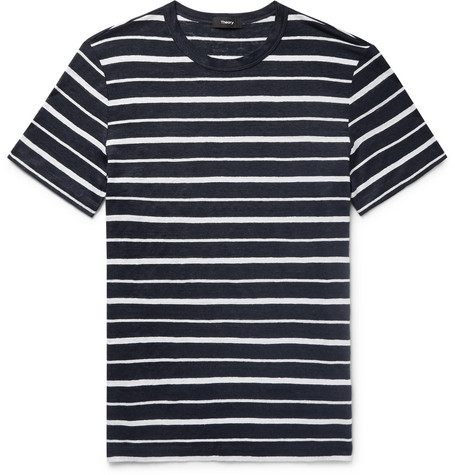 Clearance For Nice Striped Slub Linen-jersey T-shirt Theory Choice Online HxYyyw8
