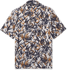 Theory Daze Camp-Collar Printed Linen Shirt