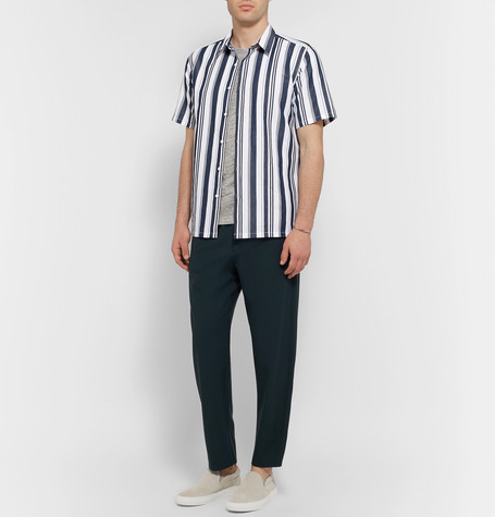 Irving Striped Cotton And Linen Blend Shirt by Theory