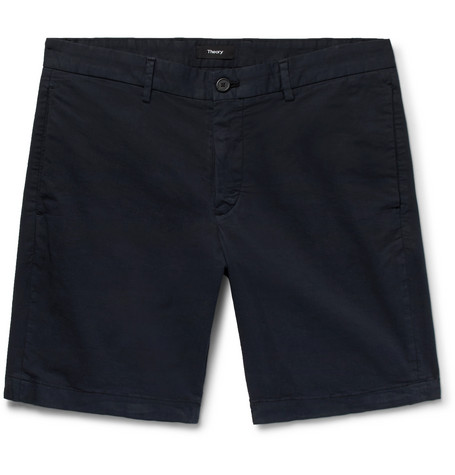 Theory - Zaine Slim-Fit Garment-Washed Stretch-Cotton Twill Shorts - Navy