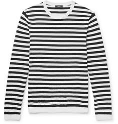 띠어리 Theory Roldans Slim-Fit Striped Cotton-Blend Sweater,Midnight blue